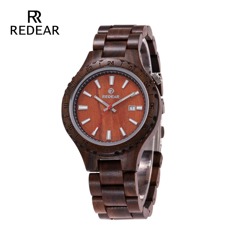 REDEAR Wooden Watches Unisex Natural All Ebony Fitness Watch for Men Japanese Movement Wristwatches with Gift Box