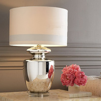 Silver Glass Table Lamps New Classical Hotel Lobby Lounge Silver Glass Desk Lamp Led Table Lamp