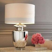 TUDA 40X77 cm Freies Verschiffen Große Tischlampe Silber Glastisch lampen Neuen Klassischen Stil hotel lobby lounge GEFÜHRT Tischlampe E27