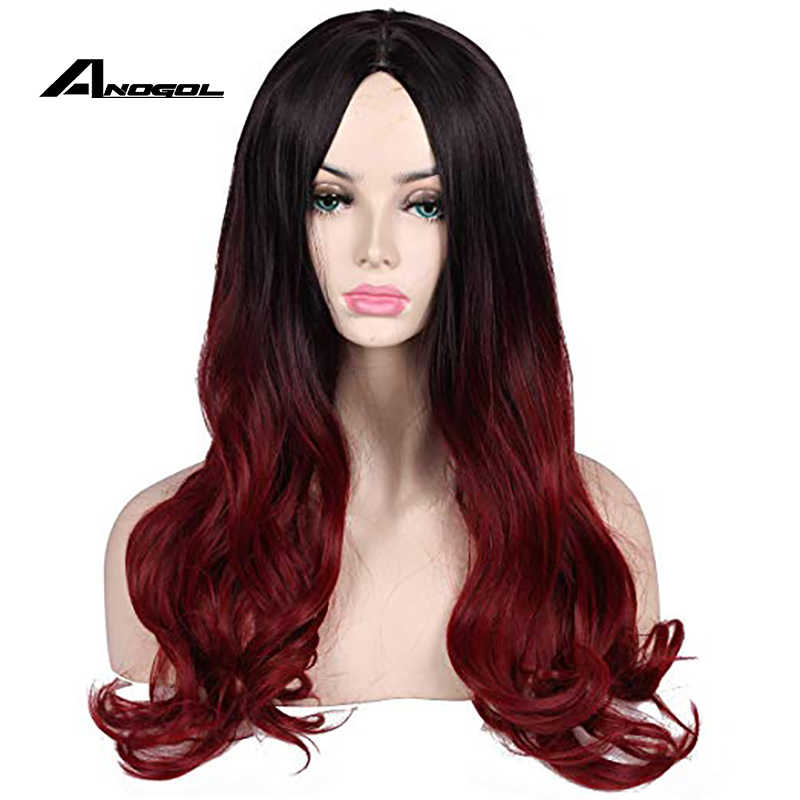 Anogol Guardians Of The Galaxy Gamora Vol. 2 De Avengers Comic Lange Body Wave Zwart Ombre Rode Synthetische Cosplay Pruik Rollenspel