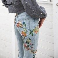Simplee Floral Embroidery Jeans Woman Casual High Waist Jeans Pants Light Blue Denim Pencil Pants Women