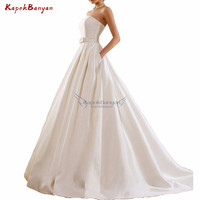 Simple Ivory Long Wedding Dress Strapless Lace up Court Train with Side Pockets Sash Elegant Sleeveless Scoop V neck