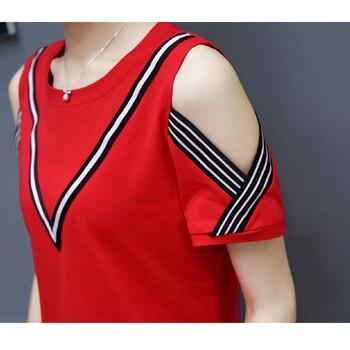 81bdae855 Verano De 2019 T camisa mujeres rayas camisas De manga corta De algodón  Casual Top camiseta Femme Poleras De mujer
