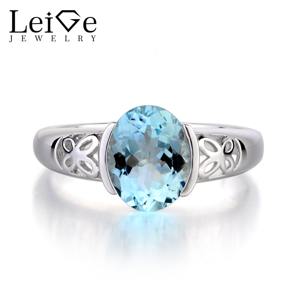 Leige Jewelry Solid 925 Sterling Silver Ring Natural Aquamarine Blue Gemstone Birthstone Oval Cut Engagement Rings for Her