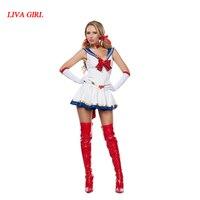 ילדה liva חדשות גבירותיי סקסיות לבן ירח סיילור מון קוספליי ילדה תלבושות Cartoon סרט כספית מאדים עבור ליל כל הקדושים תלבושות