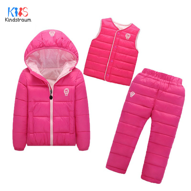Kindstraum 2017 Winter Children Down Clothing Sets Kids Coats + Pants + Vest Thermal Wear  Hooded Suits for Boys & Girls,RC804