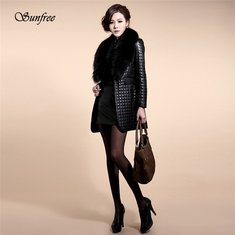 Sunfree 2017 New 1PC Women Winter Faux Leather Fur Long Sleeve Coat Jacket Outerwear Long Overcoat Brand New High Quality Dec 21 2015 new noble leopard blending retro long leather fur jacket women s contrast color stitching faux fur coat female h1530