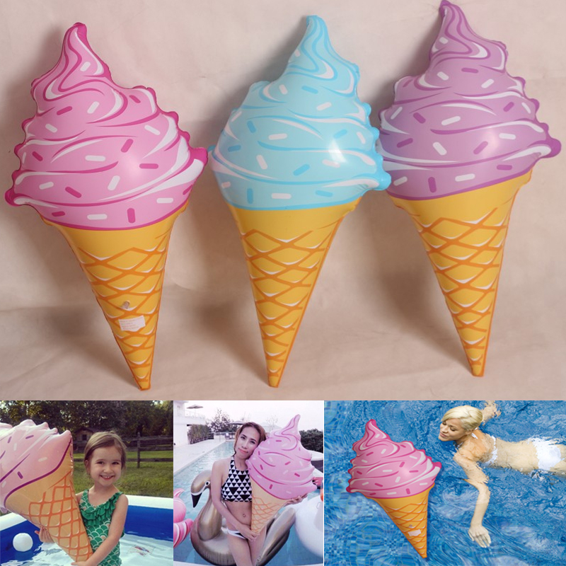 2016 New 3 Colors Swim Ring Water Pool Water Fun Float Toys Inflatable Birthday Ice Cream Children Game Toys Party Decorations