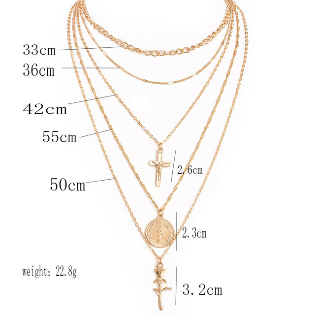 Multiple Layers  Charm Gold Chokers Necklace