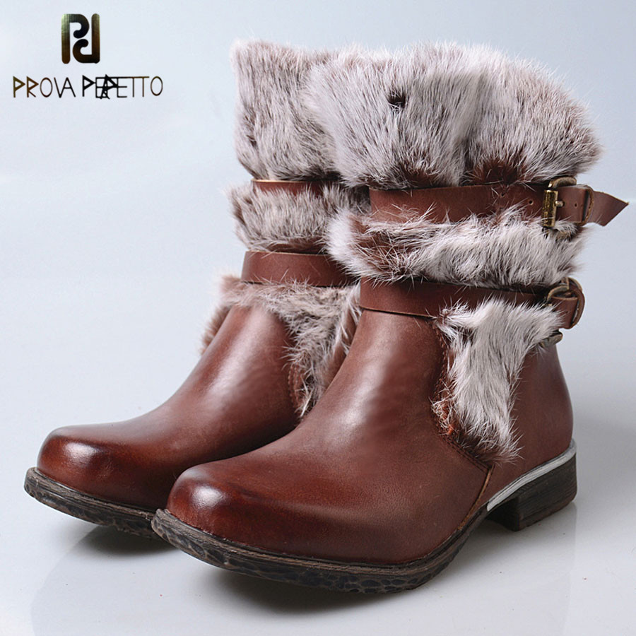 Prova Perfetto 2018 New Styles Rabbit Fur Cow Leather Ankle Boots Females Belt Buckle Thick Bottom Causal Warm Winter Short Boot prova perfetto 2017 winter new styles women short boots high quality 100