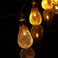 3M 30 LED Silver Metal Mesh Water Drop String Light Battery Operated Festival Christmas Halloween Party Deco Fairy Lights