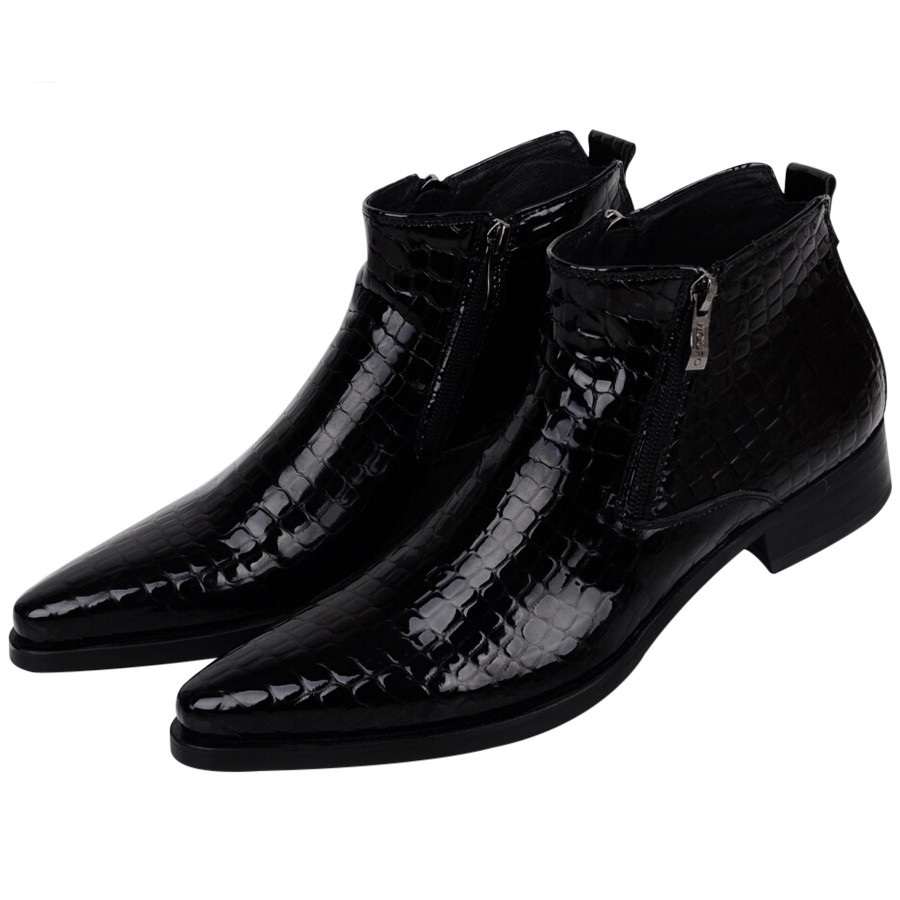 Large Size EUR46 Serpentine Blue / Black Mens Ankle Boots Wedding Shoes Genuine Leather Shoes Man Dress Shoes