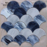 Faned shape Tiffany glass tile mosaic pattern