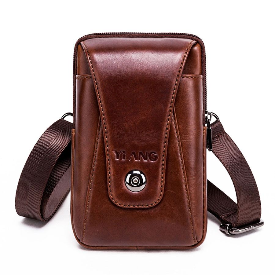 diagonal bags first layer of leather mens shoulder bags Leather pockets mobile phone bags belts retro small shoulders