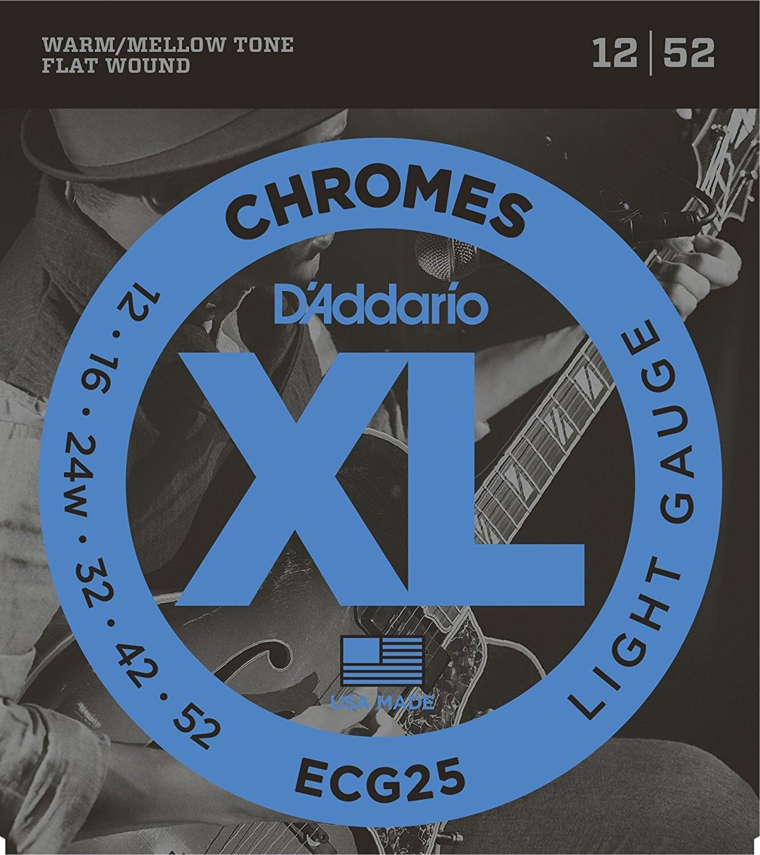D'Addario ECG25 XL Chromes Jazz Light Electric Guitar Strings FlatWound Electric Guitar Strings, Light, 12-52