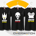 anime game watchover T shirts black white WINSTON/Tracer/Pharah/Genji/SOLDIER:76/Reaper Top short sleeve cartoon tees shirt