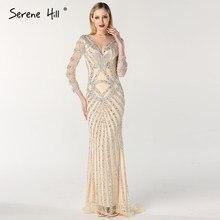 c3624514b8d3b ヌードスリムマーメイド高級新イブニングドレス 2019 長袖ビーズタッセルファッションフォーマルイブニング LA6594