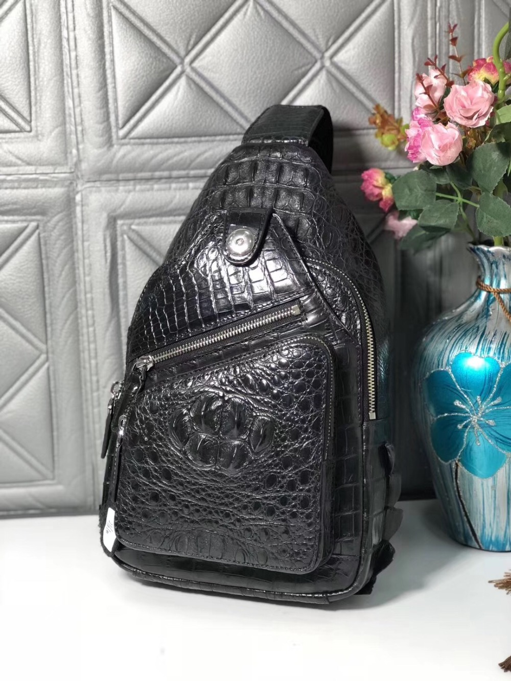 Casual Designer Genuine Alligator Leather Male Small Chest Bag Zipper Closure Crocodile Skin Men Crossbody Bag Man Messenger Bag magnetic closure animal dolls pompon crossbody bag
