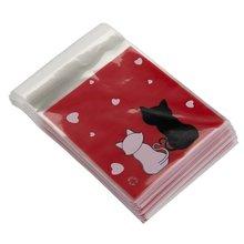 Praktische 100 stücke handtasche Rot KATZEN tüte Bonbons Kekse Geschenk