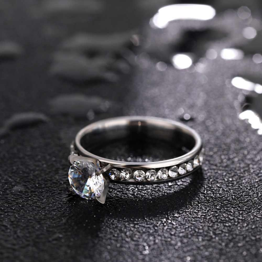 Mode titane en acier inoxydable anneaux pour femmes cercle CZ mode bijoux Anillo femme fête mariage bijoux anneaux en gros