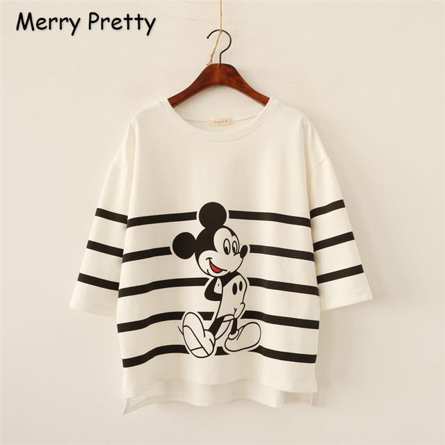 Feliz Bonito Estilo Harajuku t shirt Mulheres Moda de Nova Verão Mickey T-Shirt de Algodão Plus Size Camisa Solta Encabeça camiseta feminina