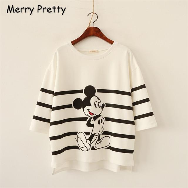 Merry Pretty Harajuku t shirt Women New Fashion Summer Style Loose Mickey Cotton T-Shirt Plus Size  Shirt Tops camiseta feminina