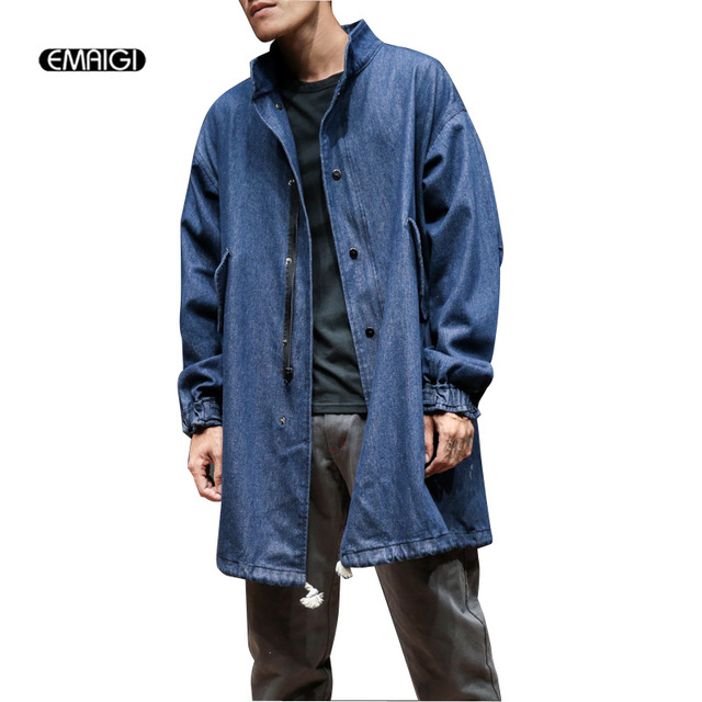 9d7923e72e6 Autumn New Men Denim Trench Coat Male Fashion Casual Loose Jean Windbreaker  Jacket Mens Overcoat