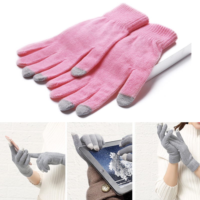 1 Pair Winter Thicken Knitted Gloves for Women/Men Warm Touchable Screen Gloves for Mobile Phone Pad Tablet