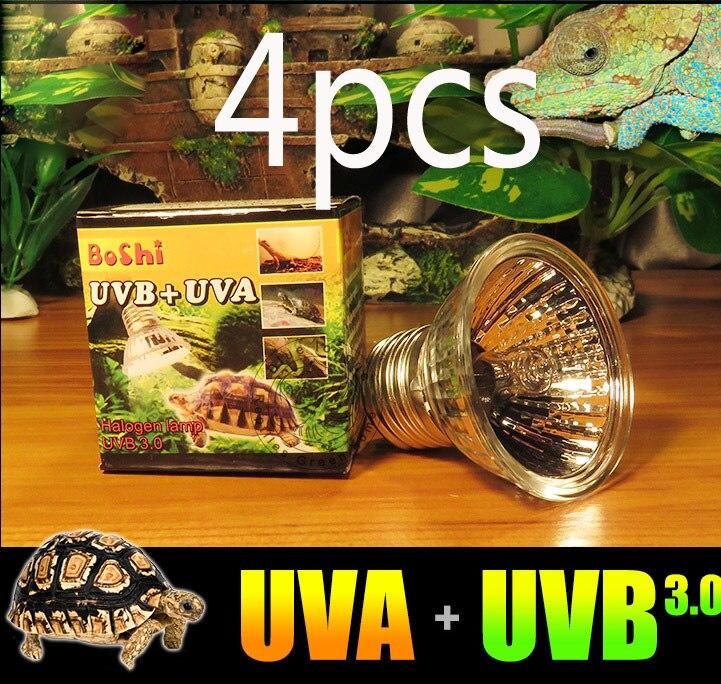 4-pack Reptile Vivarium Sunning Heat Tungsten Halogen UVB + UVA Baking Light Bulb emits a broad-spectrum light 220v