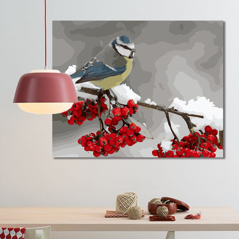 paint by number art painting by numbers Bird flower living room bedroom decoration painting adult hand-painted decompression