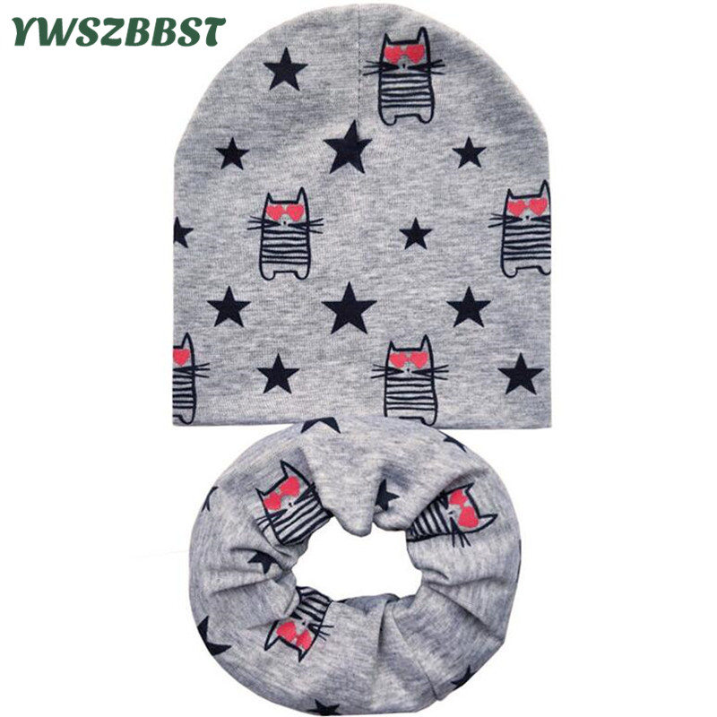 Autumn Winter Crochet Children Beanies Cap Cartoon Unisex Boys Cotton Caps Baby Hat Cap for Girls Kids Hat Set Neck Scarf Collar