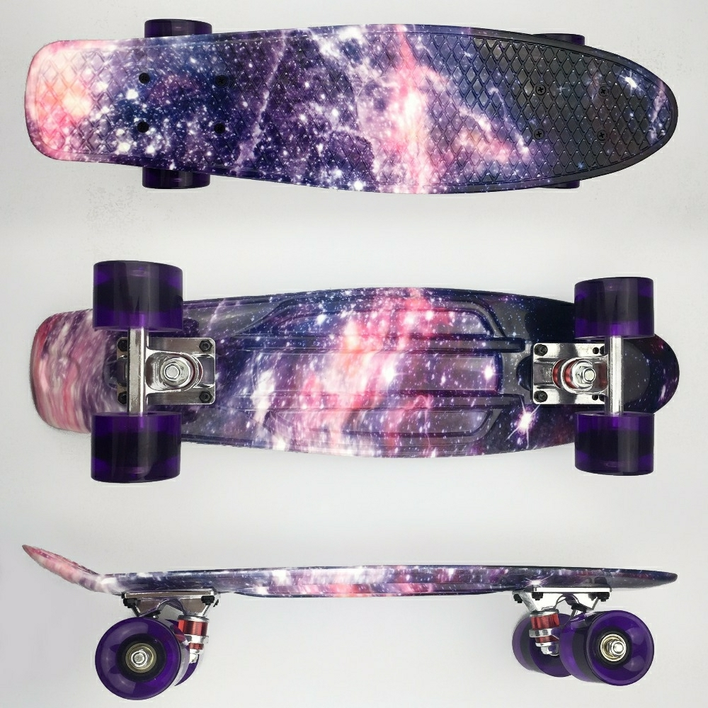 Colorful Mini Cruiser Skateboard 22 Inch For Kids Penny Board Completed Graphic Sky Pattern Retro Skate Board Patins