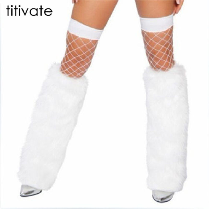 New White Black Lady Leg Warmers Ankle Covers Soft leg Ankle 40cm Boots Sexy Women Faux Furry Shoes Cover Christmas Costume