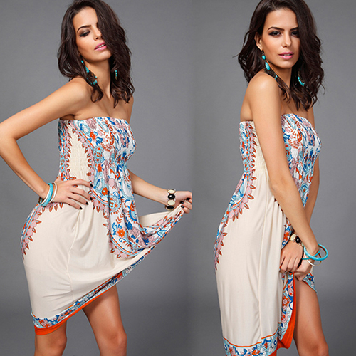 New Arrival Women Vintage Strapless Paisley Print Knee Length Boho Hippie Blouse Sun Dress