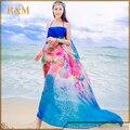 Nuevas Mujeres Sexy Gasa Toalla de Playa Sarong Pareo encubrimientos del Apagado-hombro Vestido Palabra de Honor