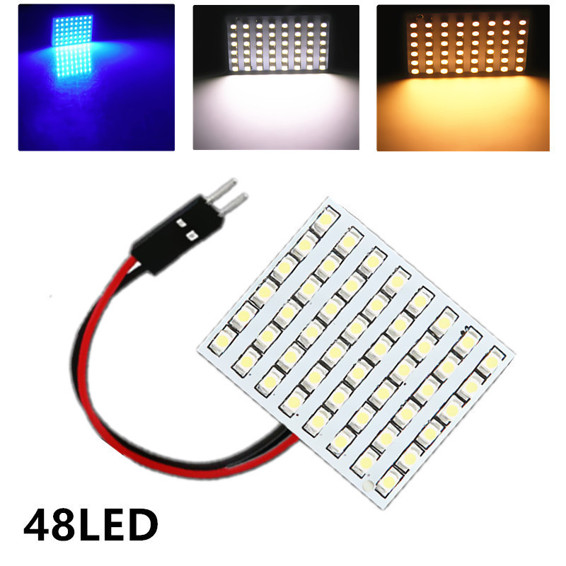 48 SMD Blue, White, Warm white Panel led car T10 BA9S Festoon Dome Interior Lamp w5w c5w t4w bulbs Car Light Source parking 12V