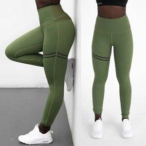Image 4 - Женские спортивные штаны для фитнеса, эластичные спортивные Леггинсы для тренировок, облегающие спортивные штаны для бега, однотонные тренировочные брюки