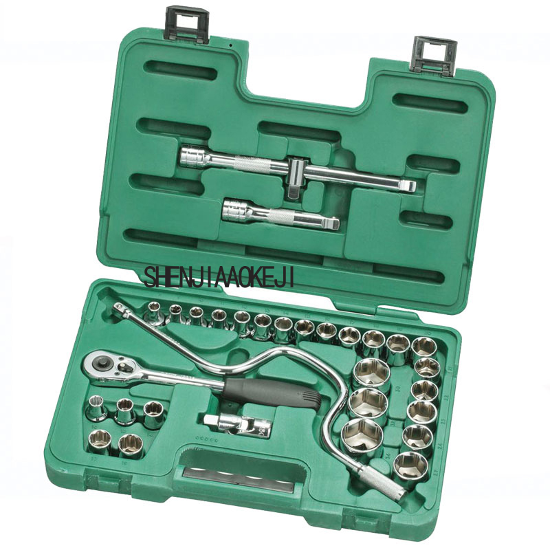 32pcs/set 12.5MM series sleeve Ratchet wrench universal joint Auto Repair Tool Set Multi-functional portable hardware tool