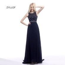 ZYLLGF Women Evening Dress Long Navy Blue Evening Formal Gown Luxury Rhinestone Beaded Formal Dress 2017 ZL78