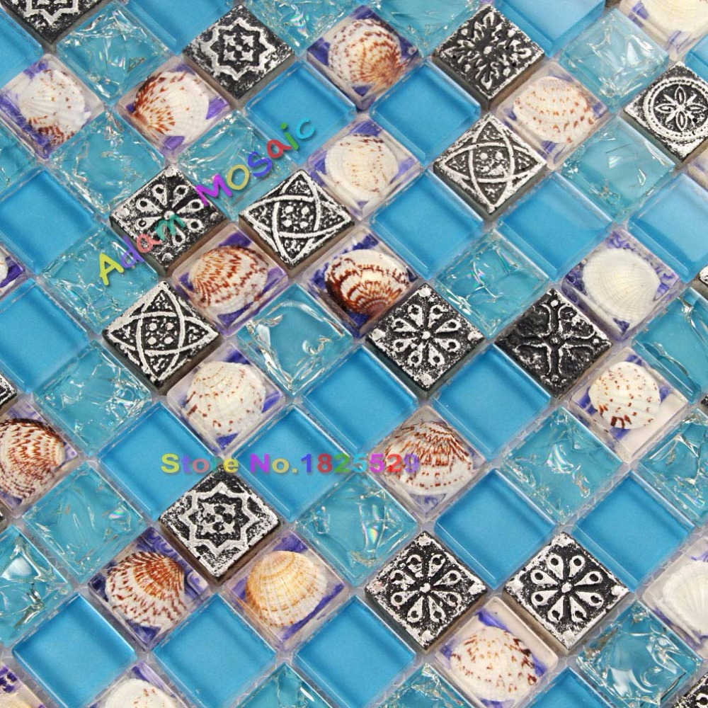 Tiles With Borders: Sea Blue Resin Mosaic Tile Glass Conch Tiles Kitchen