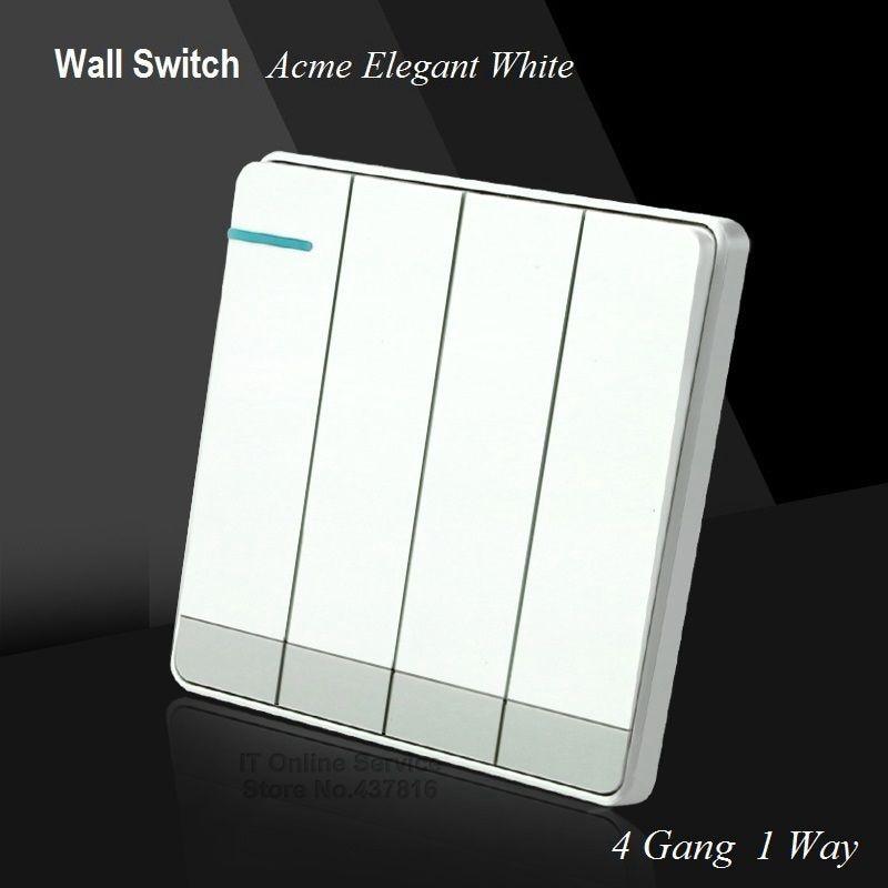 Electric Wall Rocker Switch avec vis de fixation 1 Gang 2 Voie Plastique Blanc