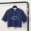 Estilo con estilo Señoras de la impresión de la letra Harajuku Mujeres de la camiseta corta tops diseño de marca de Algodón ocasional de la manga Del Cuello de O impreso crop top
