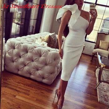 sexy Simple one shoulder ruffles short prom 2018 fashion vestido de festa cheap party evening gown mother of the bride dresses