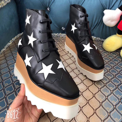 Brand Hot Star Pattern Women Pumps Square Toe Platform Shoes Woman Lace Up High Top Wedges Shoes Woman Botas Zapatos De MujerBrand Hot Star Pattern Women Pumps Square Toe Platform Shoes Woman Lace Up High Top Wedges Shoes Woman Botas Zapatos De Mujer