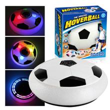 18cm Air Power Soccer Disc Indoor Football Toy kolorowe oświetlenie do zastosowań muzycznych migające zabawki do gry w piłkę dzieci gra sportowa dziecięcy prezent edukacyjny tanie tanio 3 lat 3 lat Unisex Certyfikat 18 CM Keep Away From Fire Grasping Movement Ability Developing