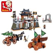 Sluban 445 Pcs Característica Chinesa Três Reinos Castelo Grande Cena Action Figure Blocos de Construção 3D Construção de Brinquedos para Crianças