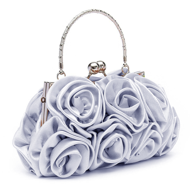 New 2018 satin Hot Fashion Floral Ladies day Clutch Bag Women Evening Party Prom Bridal Diamante Baguette White 5 colors summer 3