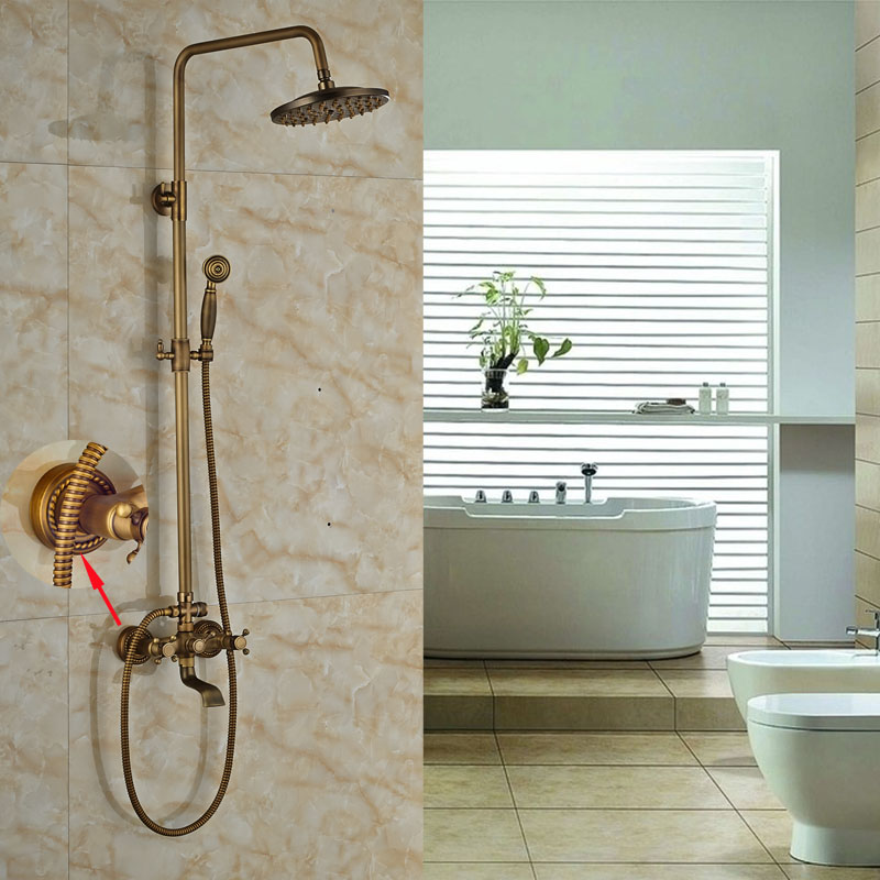 ⑧Double Levers With Hand Shower Antique Brass Shower Faucet ...