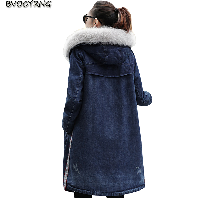 Winter Jackets for Women 2018 Long Denim Coat Big Size Lambswool Hooded Tops Thick Warm Female Jeans Womens Leisure Jackets-in Jackets from Women's Clothing    1