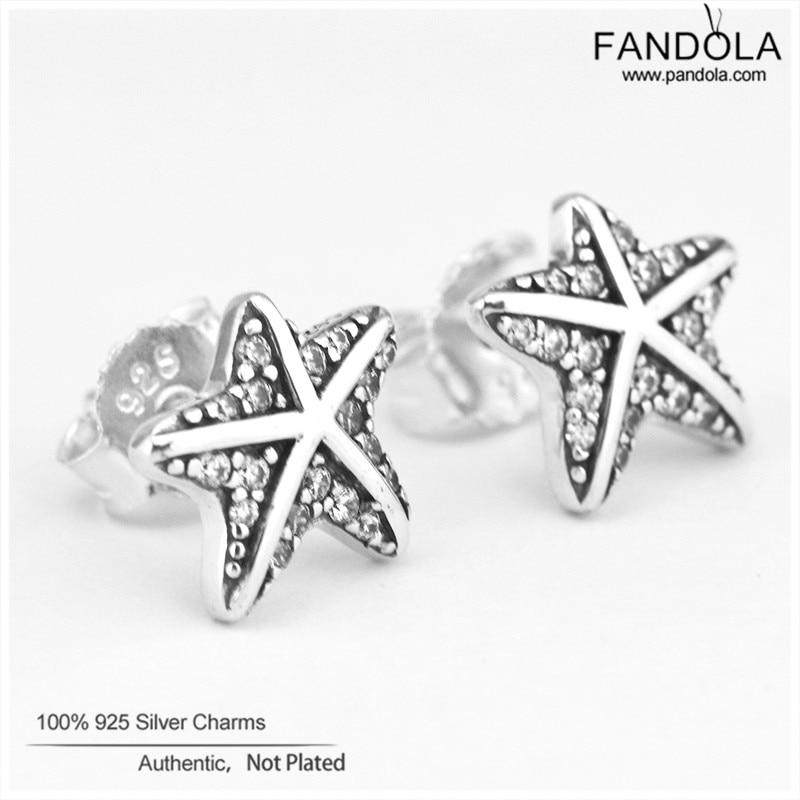 Autentické náušnice 925 Euro stříbrné náušnice Clear CZ Starfish Náušnice pro ženy Doplňky Svatební módní šperky Velkoobchod